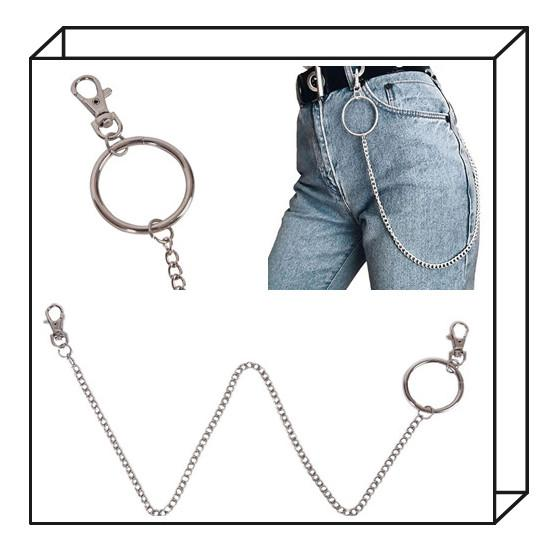 New 1pc 65cm Long HipHop Key Chains Rock Punk Trousers Key Chain Hipster Street Big Ring Pant Jean Keychain Accessories