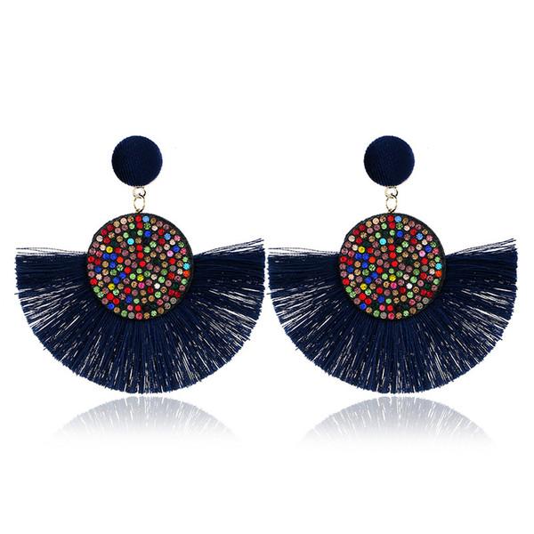 Bohemian Tassel Earrings Vintage Statement Crystal Drop Earrings for Women Black Red Yellow Big Fan Shape Dangle Fringe Earrings 2019 Jewel