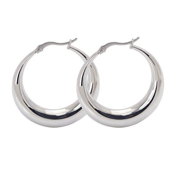 40MM Womens Hypoallergenic Stainless Steel Circle Clip On Hoop Earrings High Polished