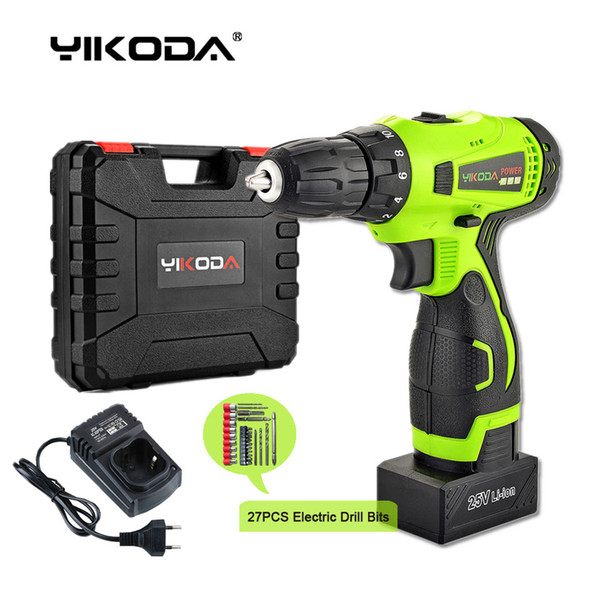 best selling 25V Cordless Drill Electric Screwdriver Home DIY Room Decoration Rechargeable Electric Drill One Battery Plastic Case Plus Accessories