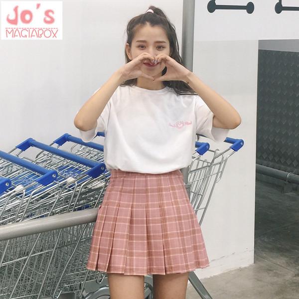 2017 New Spring High Waist Ball Pleated Plaid A-line Sailor Skirts Harajuku Tutu Skirt Large Size Japanese School Uniform MX190731