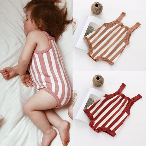 2018 Baby Girls Boys Clothes Newborn Infant Jumpsuit Baby Knitted Romper Cotton Woolen Brand Sleeveless Toddler Overalls Outfits Y19061201