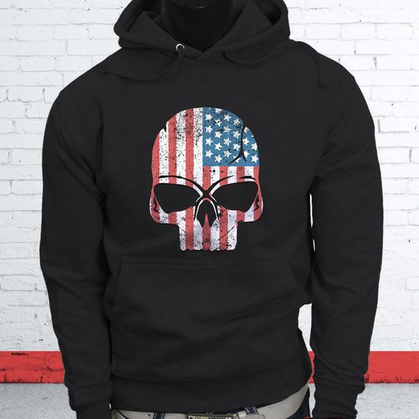 American Flag Hero Skulls Independence Day Proud Sudadera con capucha negra para hombre