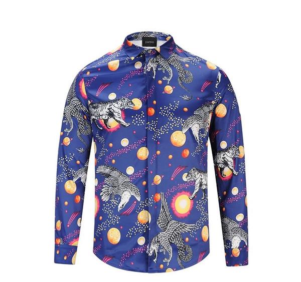 Hommes chemise concepteur manches de chemises casual chemise des hommes chemise de vêtements de marque tigre bleu importés D30
