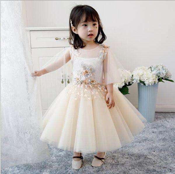 Großhandel 2019 Neue Baby Kleid Beige Applikationen Taufe Kleidung 1 Jahr Geburtstag Outfit Für Baby Hochzeit Kleid Kleines Mädchen Partei Prinzessin