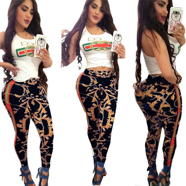 Frauen Sommer Ernte Weste Trainingsanzug Designer Blumendruck gestreiften langen Hosen zweiteilige Outfit ärmellose Tanktops Hosen Sportswear C52904