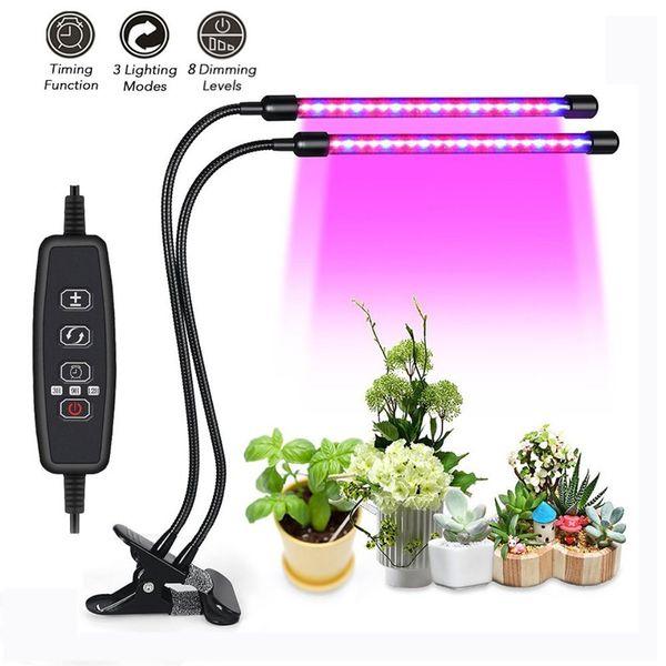 Avatar Dual Head 16W Full Spectrum planta de clip rojo azul, luz de crecimiento LED para plantas de interior Jardín hidropónico