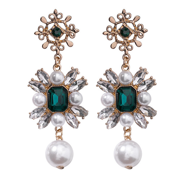 Redwood im gleichen Stil Replik kubanischen Rock Smaragd Kristall Perle Ohrringe Flash Bohrer Kreuz lange Ohrringe weiblich