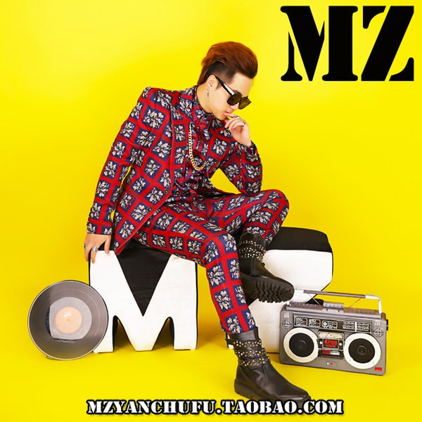 Moderator clothing men's dress nightclub men's bar DJ male singer costume slim red plaid flower suit personality tide