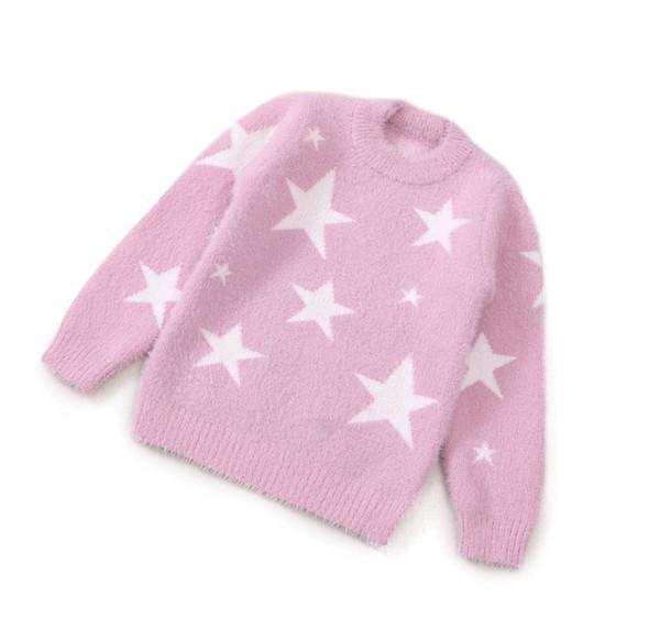Rlyaeiz chandail de haute qualité pour enfants 2018 automne bébé filles Fashion Star imprimé Knitwear Pull fille pull à tricoter