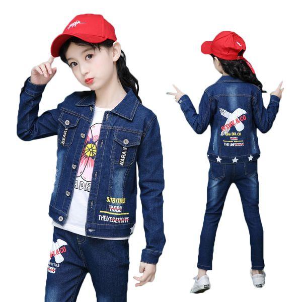 Big Boys Girls 4-16 Y Spring Denim Jeans Long Sleeve Turn-down Collar Coat & Pant Kids 2 PCS Clothing Set Fashion Letters Suits