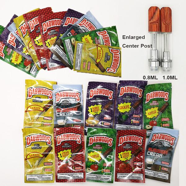 DABWOODS Carrelli Imballo Sapore Sacchetto 0,8 ml 1ml TH205 Sigaretta ceramica Coil Wood Drip Tip Cartucce monouso Vape Atomizzatori olio vuoto 510 Vaporizzatore