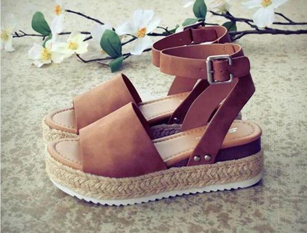 top popular Wedges Shoes For Women Sandals Plus Size High Heels Summer Shoes 2019 Flip Flop Chaussures Femme Platform Sandals 2019 2020