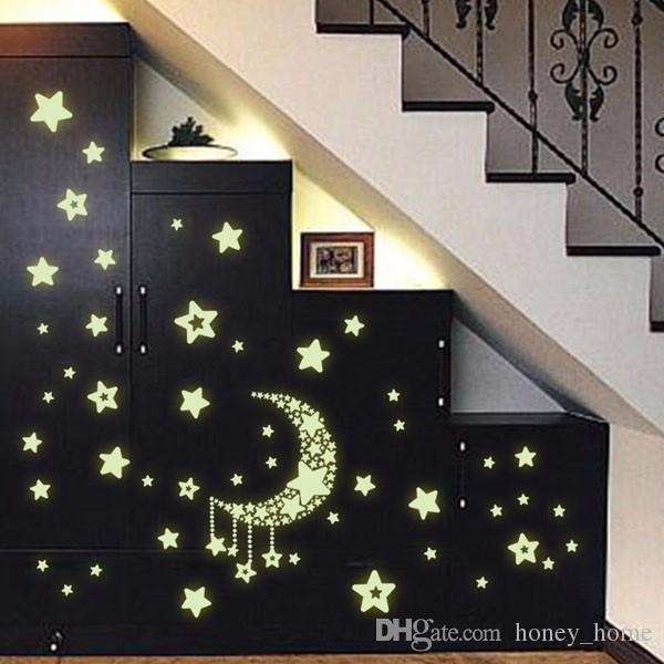 Romantic Night Luminous Stars Fluorescent 3D Wall Stickers Children\'S  Bedroom Stickers Glow In The Dark Star For Home Wall Decal Decorative Wall  ...