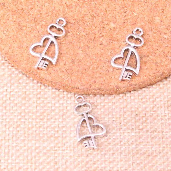 94 pcs Encantos chave cruz coração Antigo Banhado A Prata Pingentes Fit Jóias Fazendo Achados Acessórios 23 * 12mm