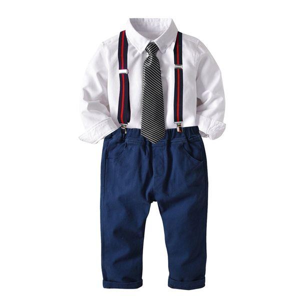Autumn INS Kids Boys Clothing Suits Spring Gentleman Tatting Cotton White Shirt+Bow Tie+Belt+Pants 4pcs Set Children Kids Boys Clothing Sets