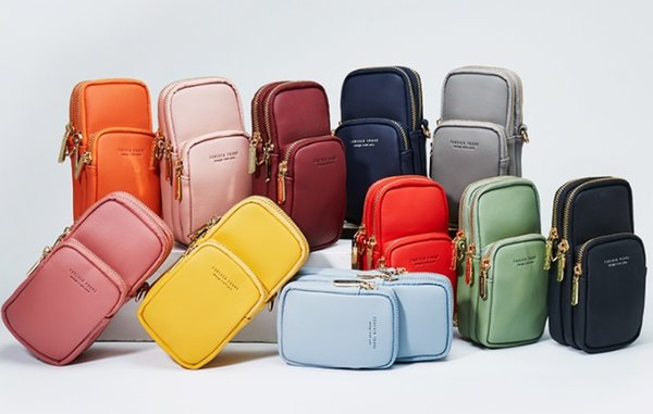 Neue Damen Handytasche Koreanische Version der bunten Damen Diagonal Tasche drei Reißverschluss Damen Tasche