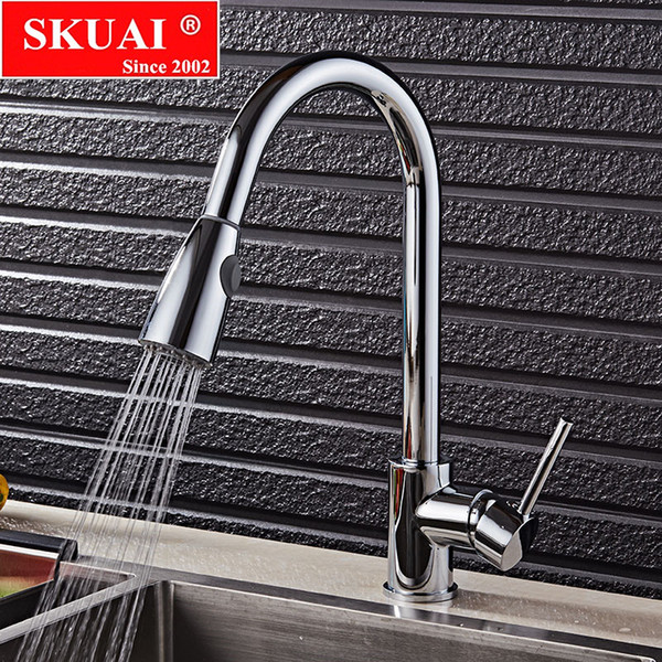 New Pull Out Kitchen Faucet Chrome Swivel Spout Sink Faucet Swivel Copper Kitchen Mixer Faucets Tap For Sinks