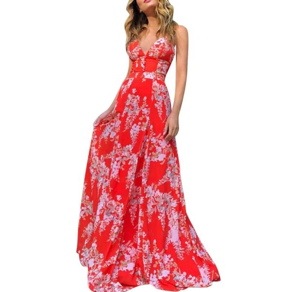Lady Women Sexy Deep V-Back with Red Printed Suspender Dress Holiday Beach Dress 2019 New Fashion Elegant Ladies Dresses #D