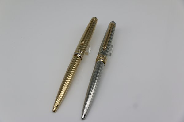 2 style Top Grade ag925 MB Ballpoint pen Meisterstucks Gold/Silver lines metal Gold trim with serial numbers stationary supplies