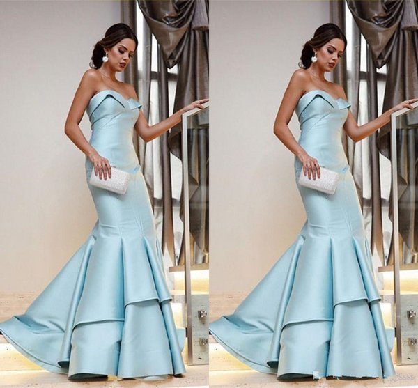 2019 Light Blue Ruffle Prom Dresses Evening Gowns 2019 Mermaid Style Strapless Open Back Prom Dress Formal Gowns Dresses Evening Wear