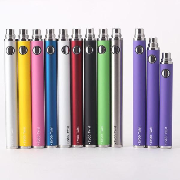 Batteria Evod Twist vv a tensione variabile per penna Vape MT3 per 510 All Thread Cartridge Vape Box Pack Spedizione DHL Batteria per penna ecape Vape