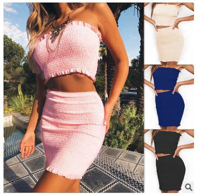 2019 European spring and summer hot sale solid color sexy off-the-shoulder umbilical package hip suit dress, support mixed batch