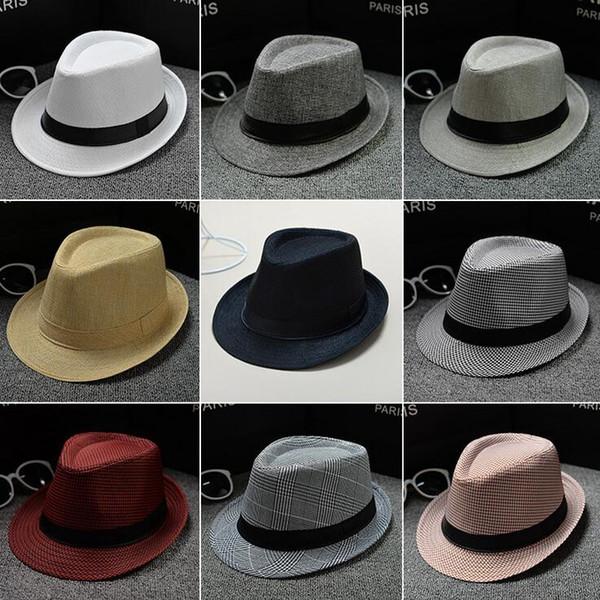 40 Colors choose Men Women Soft Fedora Panama Hats Cotton/Linen Straw Hats Outdoor Stingy Brim Hats Spring Summer Beach Sun Hat