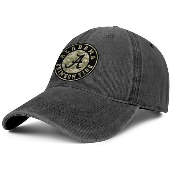 Alabama Crimson Tide logotipo camuflagem de futebol preto Womens Mens Denim tampão de água esfregando Trucker ajustável chapéus verão personalizado Voltar Closu