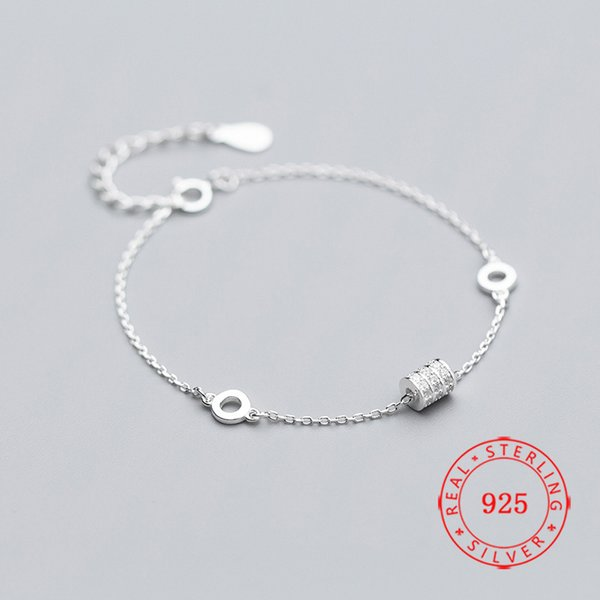 Charm Solid 925 Sterling Silver cylinder circle Jewelry Christmas Gift Lady Pendant Bracelet 2019 new women accessories jewelry