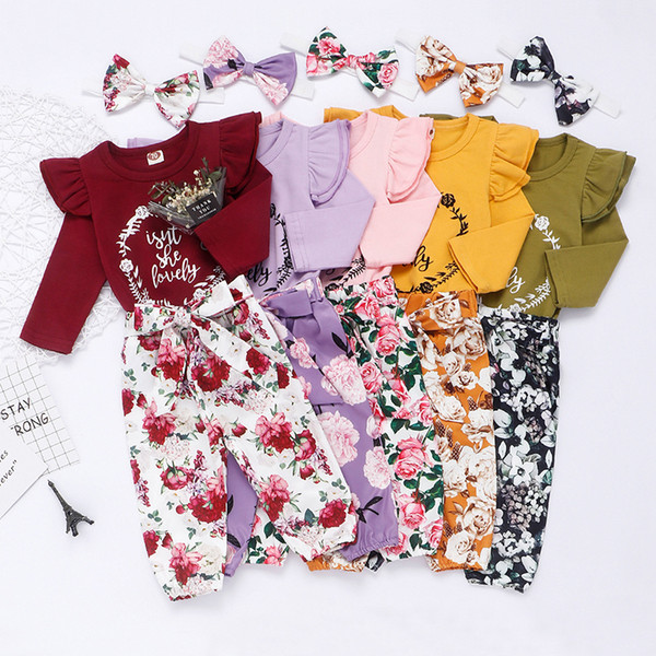 best selling Ins Baby Floral Clothing Set Letter Ruffle Long Sleeves Romper Top + Flower Pants + Floral Bow Headband Thanksgiving Outfits 3pcs set M600