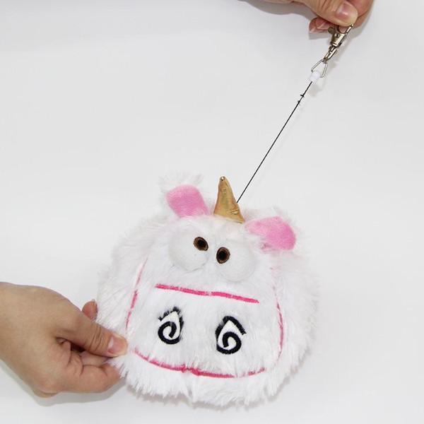 Cartoon Mini Geldbörse Unicorn Wallet Mädchen Kreative Zipper-Verfassungs-Beutel Studenten Schoolbag Anhänger Plüsch Aufbewahrungstasche mit Schlüsselanhänger GGA1840