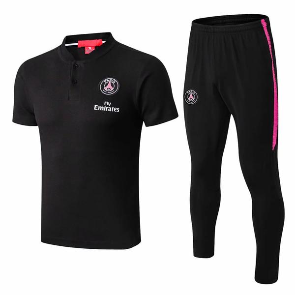 Top New 18 19 20 Paris soccer polo shirt MBAPPE short sleever training suit CAVANI VERRATTI tracksuit suit Champions League football unifo