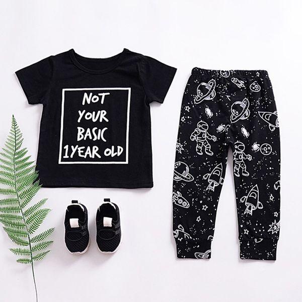 Summer Baby Boys Set Toddler Infant Cotton Letter Print T-shirt With Space Pattern Pants 2 Pcs/setest