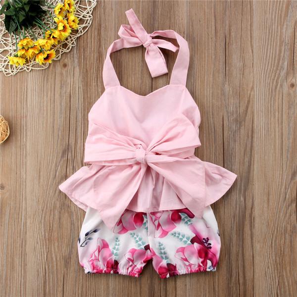cbd67204ea69 Ropa para niña de verano Sin mangas Camiseta sin espalda + Pantalones  cortos Conjunto de 2