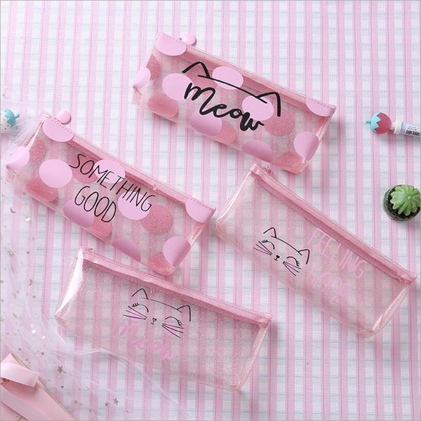 top popular Pink Cat Pencil Cases for girls Cute transparent pen bag Stationery pouch office School Supplies zakka 2021