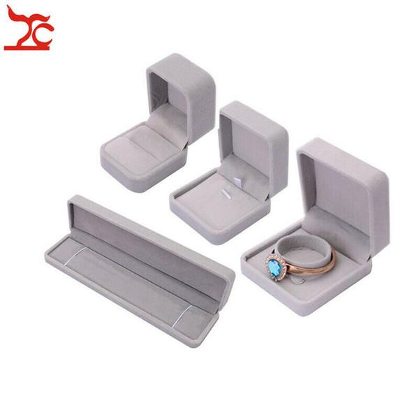 Velvet Jewelry Ring Display Box Storage Earring Organizer Gift Proposal Showcase Necklace Holder Case 5pcs/lot