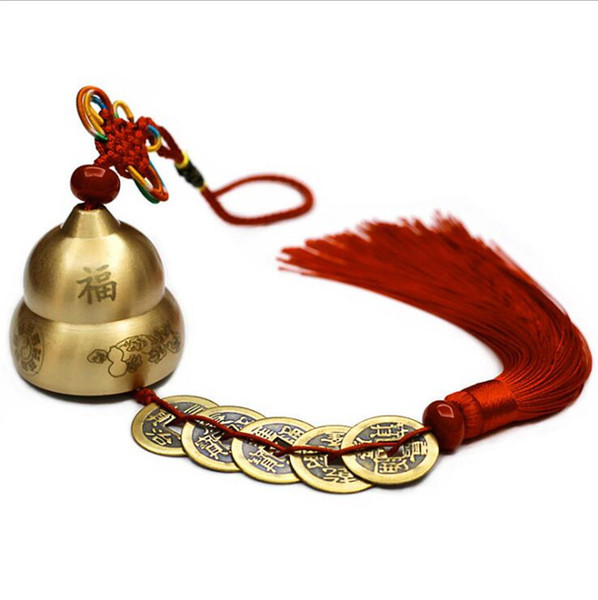 Traditional Chinese Gourd FU Design Copper Bell Blessing car pendants copper bells Hanging Wind Chimes Home Decor ornaments Accessories