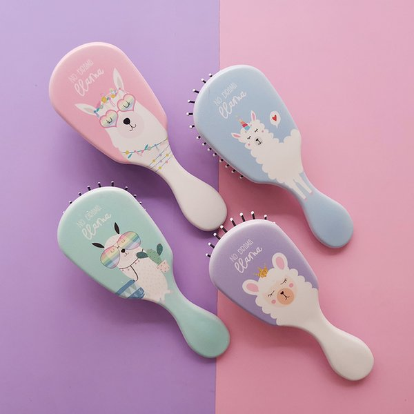New design small travel rubber cushion hair brush for kids thicker bristles travel mini detangling hair comb massge plastic brushes