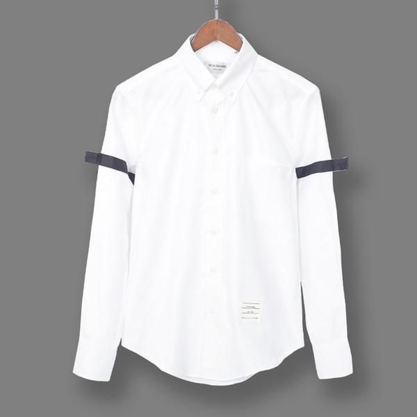 2019 new tide brand TB cotton oxford black ribbon white shirt long sleeve slim shirt men