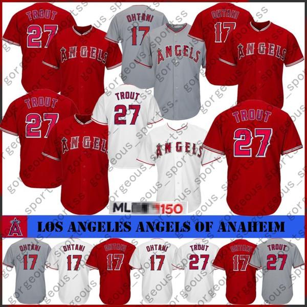 Angela 27 Mike Trout Los Angeles17 Shohei Ohtani Jersey Camisetas de béisbol cosidas para hombre Barato al por mayor 2019 2020 Ventas calientes de calidad superior