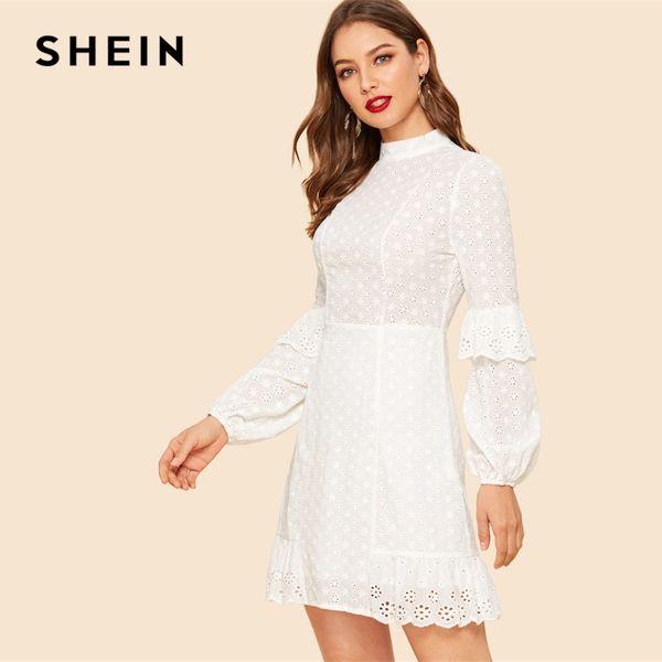 4d4a3c35e5 SHEIN White Ruffle Detail Sleeve Laser Cut Insert Stand Collar High Waist  Plain Dress Bishop Sleeve