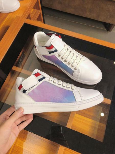 LUXEMBURG Schuhe Designer Rivoli Boombox Freizeitschuh 3M-weißes Leder-Marke Trainer Men Low Top Modefreizeitschuhe mit Kasten 36-44 i6