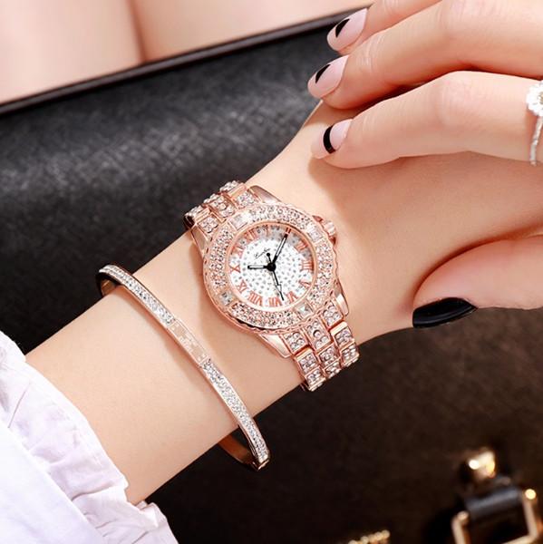Acero de aleación romana de diamantes romanos de lujo completo con reloj para mujer versión coreana popular del reloj de moda para mujer