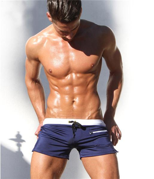 Erkek Düz renk Boxer Şort Yaratıcı Şık Zip cep Plaj Şort Erkek Nefes Yüzmek mayo Pantolon Külot