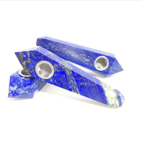 Wholesale Cheap 4 Inch Natural Rock Hand Carved Lapis Lazuli Crystal Smoking Pipes For Tobacco Healing healthy Smoking