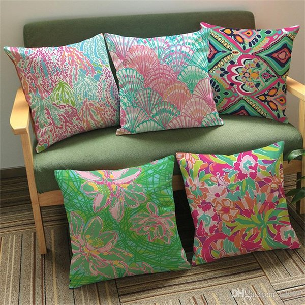 Fashion Lilly Pulitzer Cushion Cover Mulitcolor Printed Decorative Pillow Case Square Flax Office Pillowcase Home Decoration 6 8kz E1