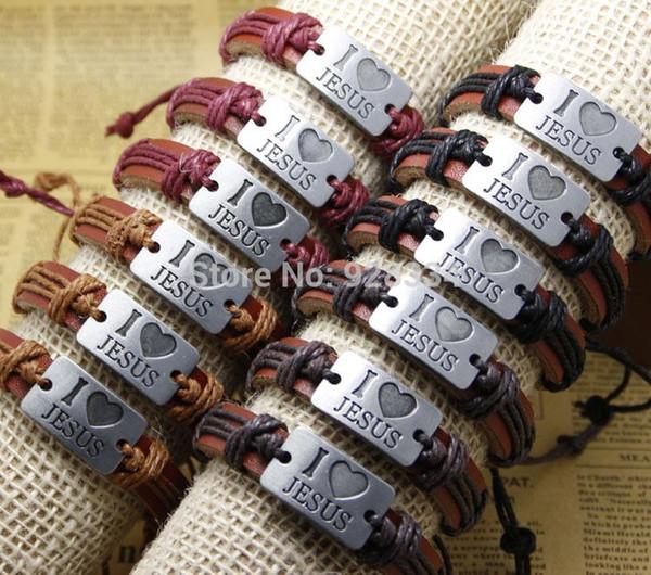 Wholesale-Free shipping lots Wholesale NEW Jewelry fashion Leather Charm Bracelet Lover Gift Christian mens/women bracelets I LOVE JESUS