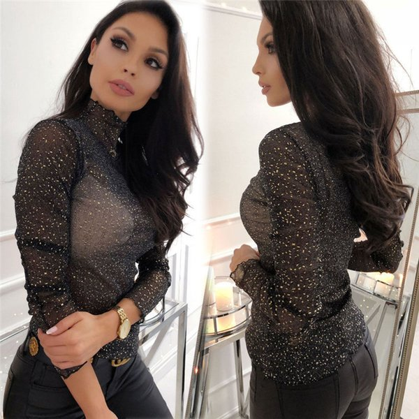2019 Sexy Women See-Through Tops Lady Paillette Dot Slim Long Sleeve Shirts Black Turtle Neck Mesh Blouse Women Clothing