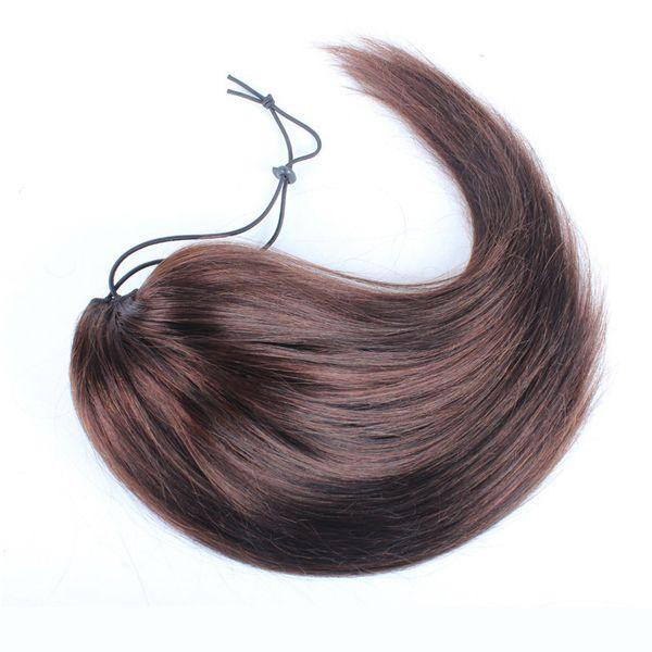 Human Ponytail cheveux raides clip brésilien Peruvian Wave Straight Ins bande élastique Ties Ponytail cheveux Drawstring